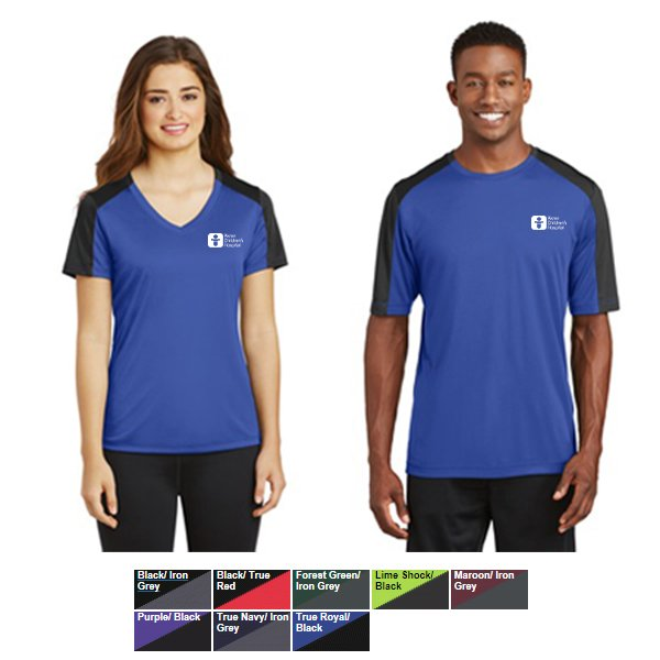 Sport Tek Posicharge Competitor Sleeve Blocked Tee Removable tag for comfort and relabeling. shopakronchildrens com